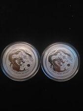 2 Coin Lot - 2012 1/2oz  .999 Fine Silver Australian Lunar Dragon Coins