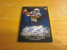 Vincent braun signiert 2011 Topps Inception blau #129 # D 007/150 CARD NFL Ladegeräte