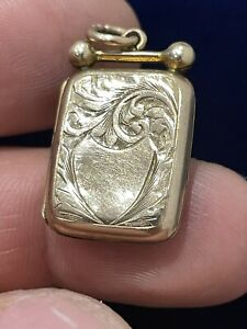 ANTIQUE VICTORIAN BACK & FRONT 9 CT ROSE GOLD LOCKET RARE COLLECTIBLE PENDANT