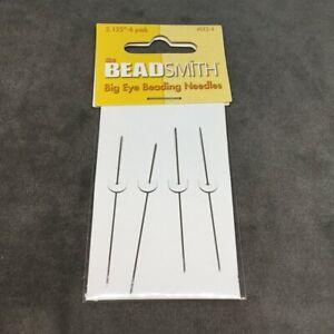 """Beadsmith Big Eye Beading Needles 2.125"""" (54mm) Qty of 4 FREE UK SHIPPING"""