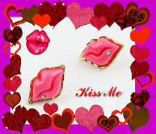 18Kt.Gold Plated Pink Sexy Lips W/ Rhinestone Stud Earrings/ Us Seller!