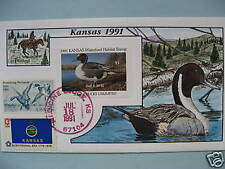 COLLINS HAND PAINTED FDC 1991 KANSAS MILFORD DUCK