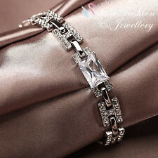 "18K White Gold Plated Simulated Diamond Rectangle Cut Letter ""H"" Bracelet"