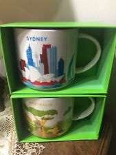 US SELLER!! Starbucks Sydney Australia YAH Mug Set Koala Kangaroo You Are Here