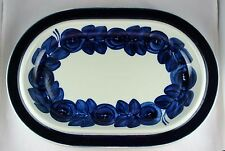 Arabia Finland Pottery Hand Painted Anemone Blue Oval Serving Platter