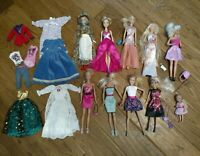 Mattel Barbie 10 Dolls Lot with Clothing & Accessories