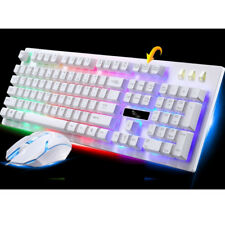Multimedia Wired Colour LED Backlight PC Gaming Keyboard Mouse Set White