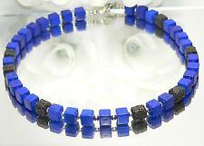 Halskette Kette Würfelkette cube Lava Würfel schwarz Synth. Türkis BLAU 456d