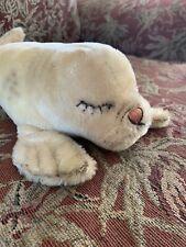 Vintage Steiff Sleeping Seal Stuffed Animal w/ Button On Flipper