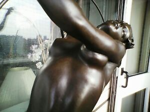 Art Deco Sculpture, Erotic Dancing Naked Lady Bronze Figurine on Marble Base
