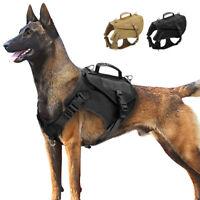 Harnais tactique pour chien avec poignée militaire réglable MOLLE Entraînement