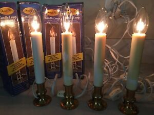 4 - Electric Window Candle Lamp Solid Brass Base 8 Hour Timer