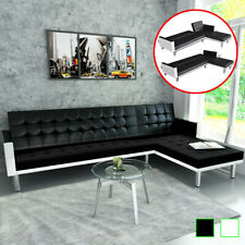 vidaXL L-shaped Sofa Bed Faux Leather Sleeper Lounge Couch Seating White/Black