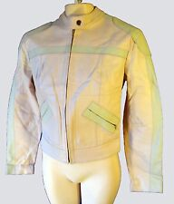 Pink ladies biker jacket leather women s small racing stripe white cafe scooter