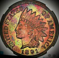 1891 indian head penny Proof63 Ngc Graeded