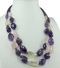 Amethyst and Citrine and Rose Quartz Gemstone Necklace