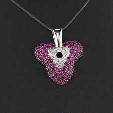 Vintage Estate 18K White Gold Pink Sapphire and Diamond Flower Pendant
