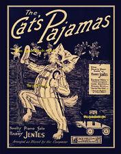 Vintage THE CAT'S PAJAMAS 8x10 white cat sheet music Art print