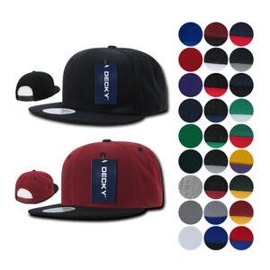 DECKY Trendy Flat Bill Snapback Baseball 6 Panel Caps Hats 48 Colors Unisex