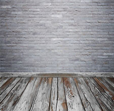 Grey Brick Wall Vintage Wooden Floor Vinyl Studio Backdrops Photo Background