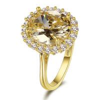 Fashion 925 Silver Citrine Gemstone Wedding Engagement Ring Wholesale