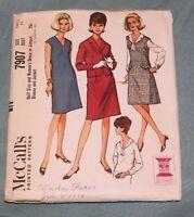 VINTAGE 1965 McCall's #7907 Sz 14 1/2 Women's Dress or Jumper Blouse & Jacket