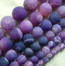 "Matte Fire Crackle Agate Gemstones Round Beads 15"" 4mm 6mm 8mm 10mm 12mm 14mm"