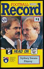 1990 AFL Football Record Sydney Swans vs Fitzroy Lions June 15 16 17
