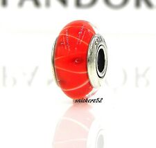 790926 - *RETIRED* NEW AUTHENTIC PANDORA MURANO GLASS CORAL LOOKING GLASS CHARM