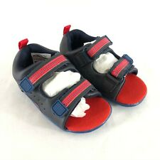 Carters Toddler Boys Sandals Stage 2 Stand Faux Leather Navy Blue Red Size 4