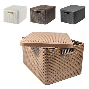 Large Storage Box Basket with Lid Size L 4 Colours Curver Rattan Style Container