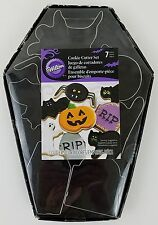 Wilton Halloween Cookie Cutters 7pc Coffin Bat Ghost Pumpkin Tombstone Spider