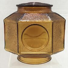 Vintage Amber Exterior Interior Glass Porch Light Shade Globe Octagonal Porthole