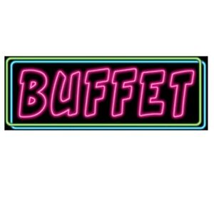 Cardstock Sign looks like Neon Vegas Carnival Buffet Sign Parties Food TAbles