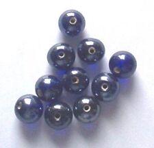 De 12: ronda 10mm lustered perlas de vidrio, azul cobalto, para la fabricación de joyas etc.
