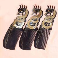 Handgefertigt Ox Horn Kamm Dragon Phoenix Geschnitzt Kopfmassage Bürste sale