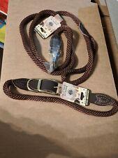 AKC X-Large Brown Leather/Rope Dog Collar & Leash Set