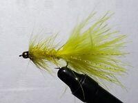 FLY-FISHING-FLIES (**YELLOW  WOOLLY BUGGER-BEADHEAD  ** ) ** 2 FLIES * SIZE 6 *