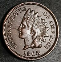 1908 INDIAN HEAD CENT - With LIBERTY & Near 4 DIAMONDS - AU UNC Details