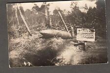WWI war photo post card large shell unexploded A Franz Bundgange German sign