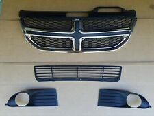 4PC Set 2009-2019 JOURNEY Upper & Lower Grille Front Bumper fits w/ Fog Lamp NEW