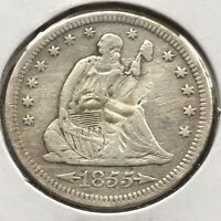 1855 S Seated Liberty Quarter 25c High Grade VF - XF Details #2754