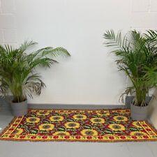 Vintage 1970s Retro Sunflower Design Tapestry Rug Throw Runner