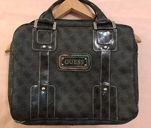 GUESS $200 Monogram Logo G 4G Grey Black Silver Leather Laptop Document Zip Bag