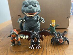 Godzilla Toy Lot!! #239 6 Inch Funko, 3 2 Inch Kaiju, And Bart Simpson/Godzilla!
