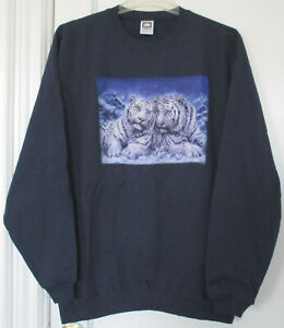NWOT 2 White Tigers Cotton Deluxe Fleece Navy Blue Sweatshirt Unisex Size XL