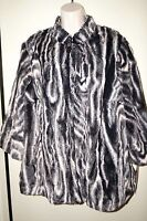 ALFRED DUNNER Women's Long Sleeve Faux Fur Jacket Black/White Animal 16W NWT