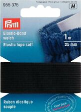 € 2,80/ m Prym Elastic-Band weich 25mm/1m schwarz Gummiband Elastikband 955375