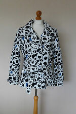 Fab Mexx White Black Blue Geometric Print Belt Mac Jacket Plus Size 18 VGC Retro