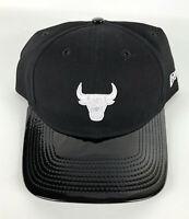 Chicago Bulls Adjustable Baseball Hat New Era 9Twenty Black w/White Logo
